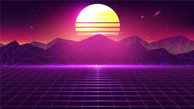80s Vintage Retro Sunset Landscape Premi Free Vector Freepik Freevector Background Vintage Mus In 2020 Vintage Landscape Vaporwave Wallpaper Sunset Landscape