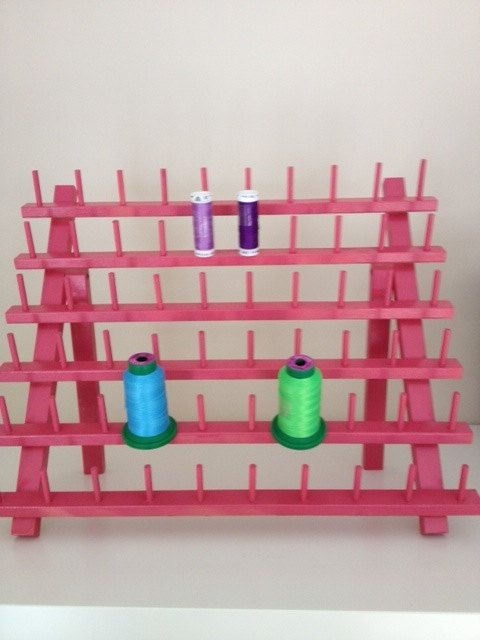 Pink Wood Thread Spool Holder Can hold sewing thread by bexandco, $24.00