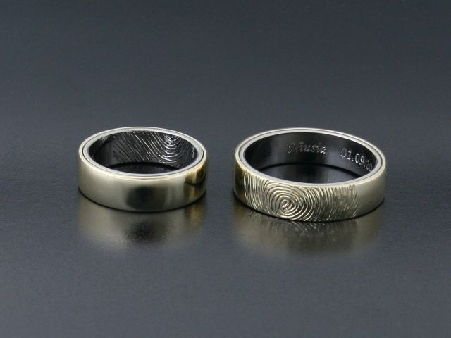 #Rings by #Bielak  yellow #gold / #palladium  #unique #wedding rings with #fingerprints  Hand made in #Poland