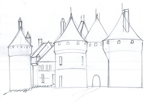 How to draw medieval castle