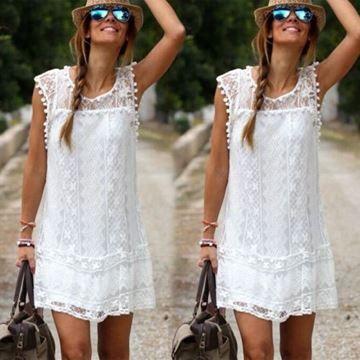 Show details for White Summer Vetement Sleeveless Evening Party Beach Dress Short Mini Lace Dress