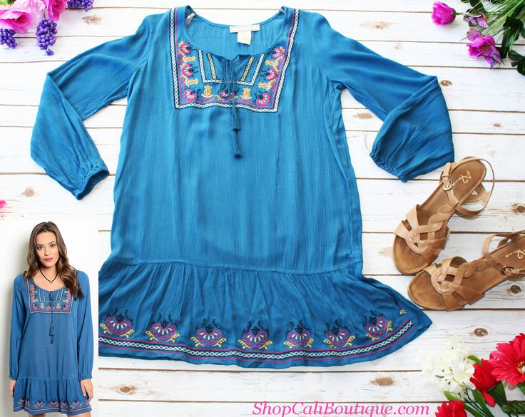 Cali Boutique | FREE U.S. shipping | Blue Fuchsia Tassel Dress, Shoes not for sale |