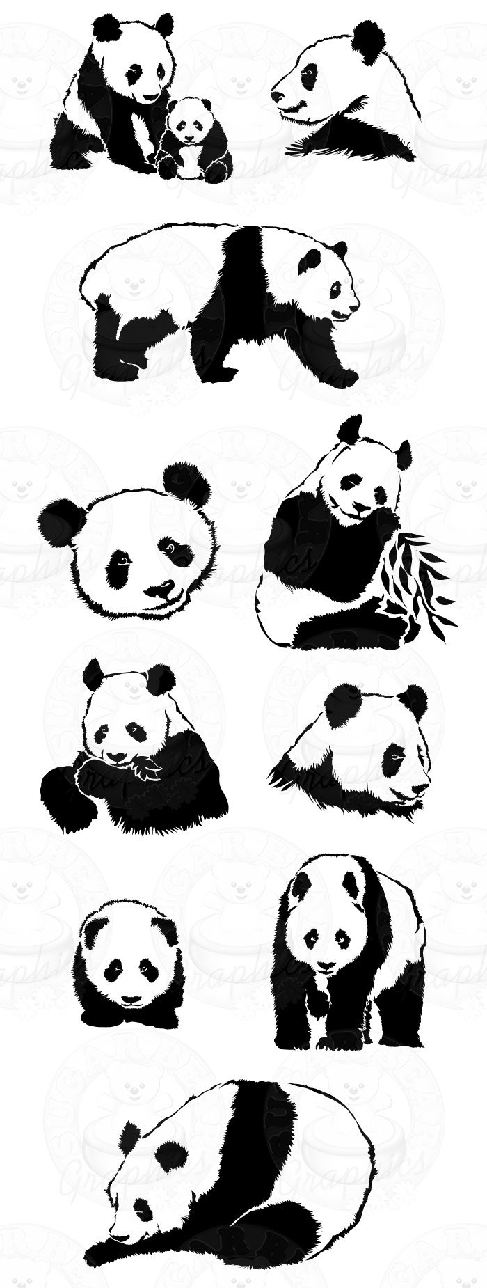Limited Set of 10 Panda Bears