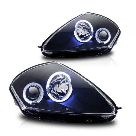 WinJet WJ10-0215-04 | 2003 Mitsubishi Eclipse Black Halo Projector Headlights for Coupe