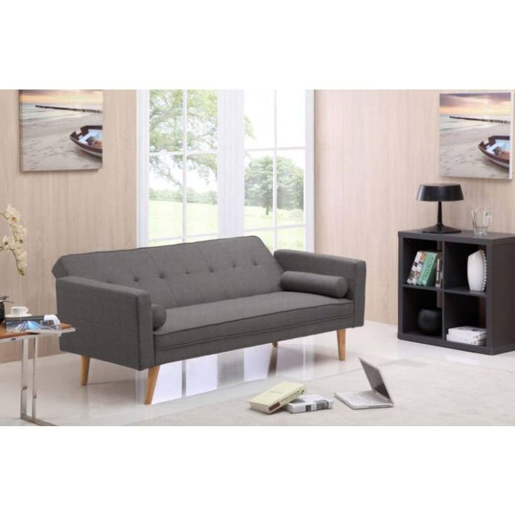 Grey Futon Sofa Bed Couch in Hopsack Fabric | Buy Fabric Sofas