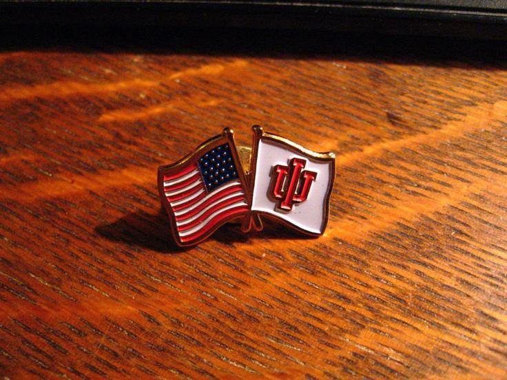 Indiana University Flag Lapel Pin - IU Hoosiers USA American Flags Patriotic Pin