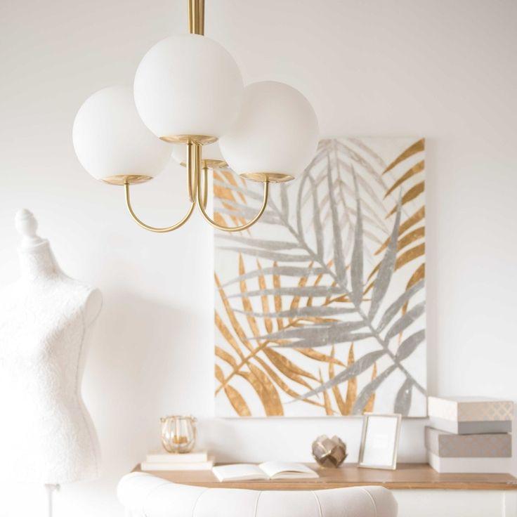 4-branch white glass and gold metal chandelier D 48 cm   Maisons du Monde