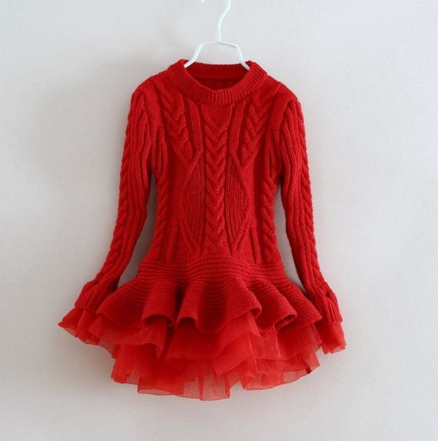 28.55$  Watch here  - 2016 New Baby Girls Christmas sweater Dress Costume children warm winter Dresses Xmas Red color toddler girls Clothing