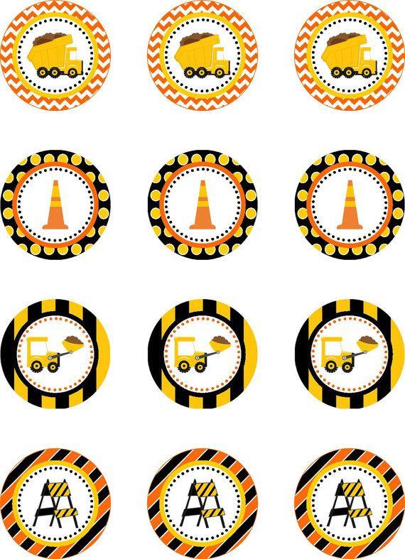 Bau LKW Cupcake Toppers, Kipper Geburtstagsparty, INSTANT DOWNLOAD Kipper Party, Bau Party Kreis Decroration – MABE MIGUEL