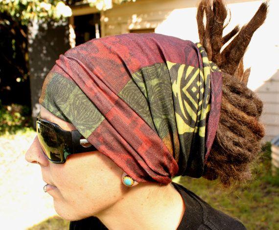 Earthy Dreadlock Headband/dread sock/wrap  by Dreadscapes on Etsy