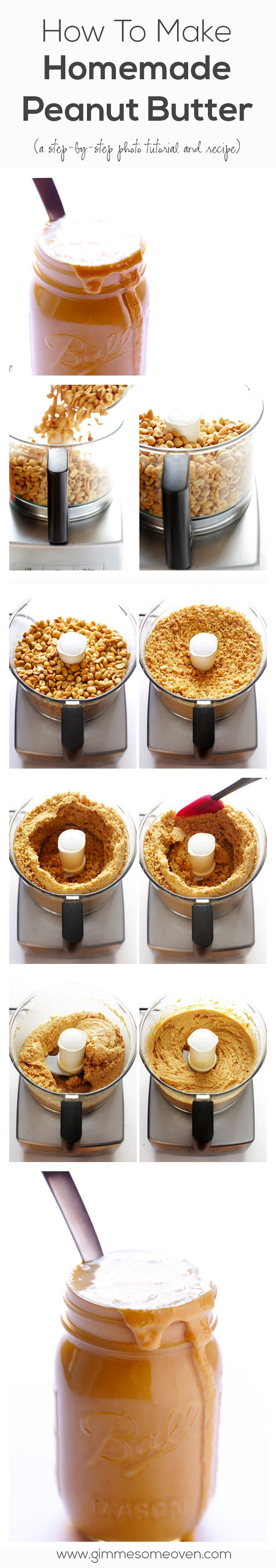 All you need are PEANUTS to make homemade peanut butter -- it's so easy! | gimmesomeoven.com #tutorial #diy
