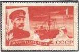 """1935. Авиапочта. Спасение челюскинцев. 1к-Капитан парохода """"Челюскин"""" В.И.Воронин (1890-1952). Пароход """"Челюскин"""" во льдах Арктики."""