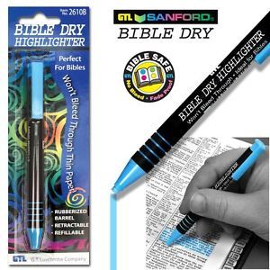 Blue Bible Or Book Dry Highlighter, Wont Bleed Thru, Push Button Advance. www.Gods411.com