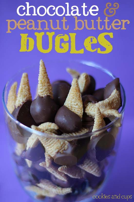 Chocolate and Peanut Butter Bugles.  A simple, sweet treat that is so addictive!