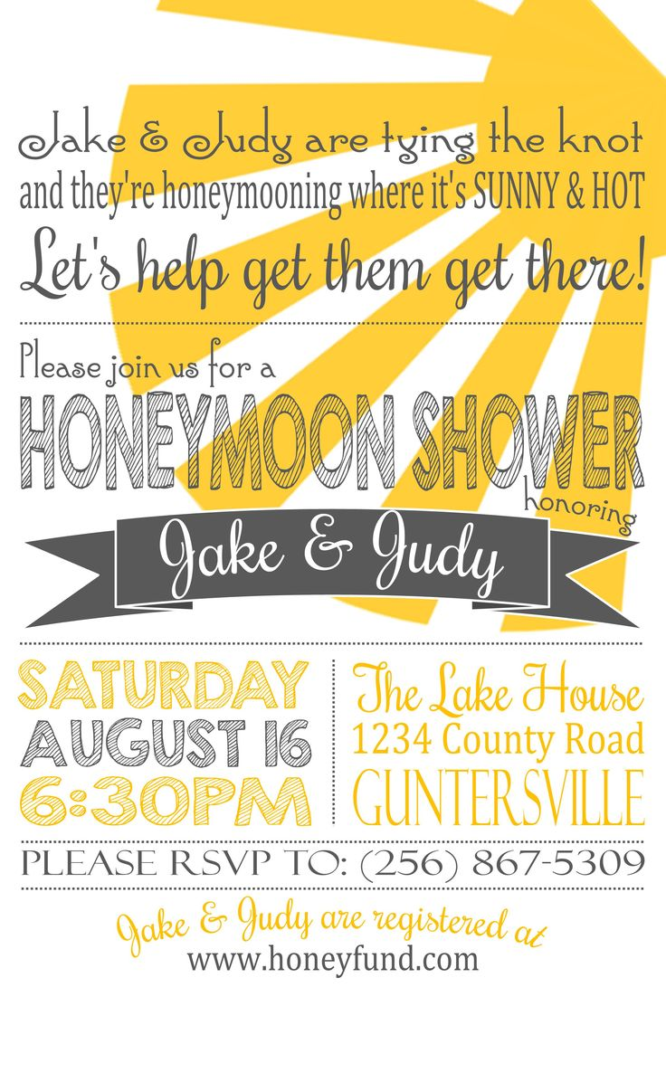 Honeymoon shower invite / Bride, wedding, invitation, invite, party - honeyfund
