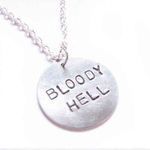 Bloody Hell Quote from Harry Potter Necklace Metal: Hands Stamps, Hell Quotes, Stamps Pendants, Jewelry Birthday, Bloody Hells, Harry Potter Necklaces, Metals Hands, Necklaces Metals, Hells Quotes