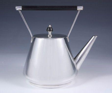 Christopher Dresser Teapot - Hukin and Heath (manu); silver-plate on brass teapot with ebony handle, UK, 1885