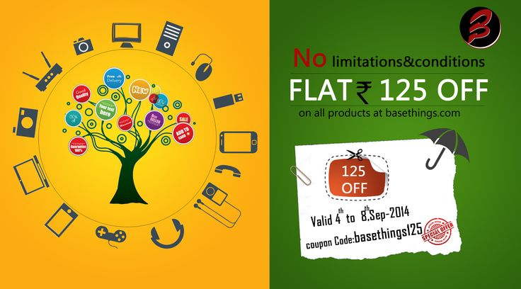 Flat Rs.125 OFF on Everything | Only For 3 days | No conditions & No limitations | Use Coupon Code:basethings125. bit.ly/1mTTdQ4