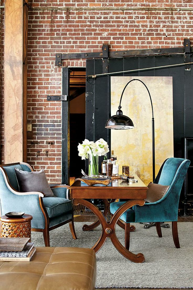 Find This Pin And More On Showroom Concepts. Industrial Loft Office With  Blue Velvet Chairs Designed By William Peace.