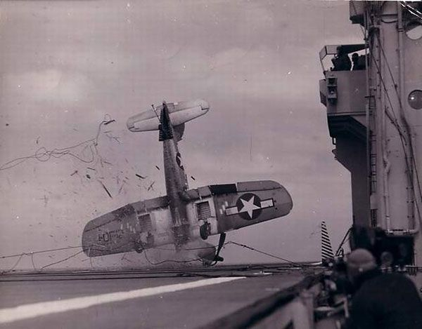 A plane crash on board during World War II... So much respect for the veterans of such a brutal war...