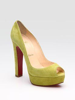 Jimmy Choo lime green peep toe suede pumps ..Ahh!!: When Suede, Shoes, Suede Platform Pumps, Peep Toe, Lime Green, Christian Louboutin, Red Bottom