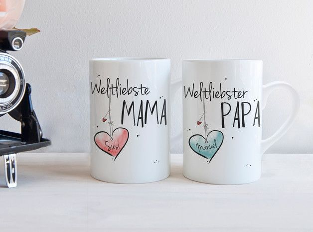 Tassen für Eltern, Geschenkidee, Muttertag, Vatertag / set of tea cups for parents made by Hugs'n'Cups via DaWanda.com