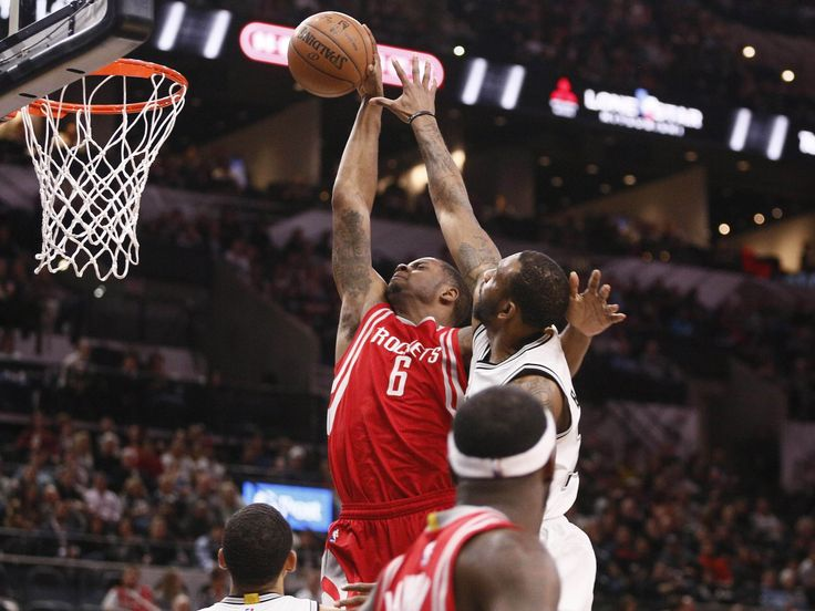 Jan. 27, 2016: Rockets forward Terrence Jones (6) throws down a one-handed flush past defender Rasual Butler (18) during the second half in San Antonio. Jones scored 11 points, but the Spurs rolled 130-99 for their 34th straight home win.  Soobum Im, USA TODAY Sports
