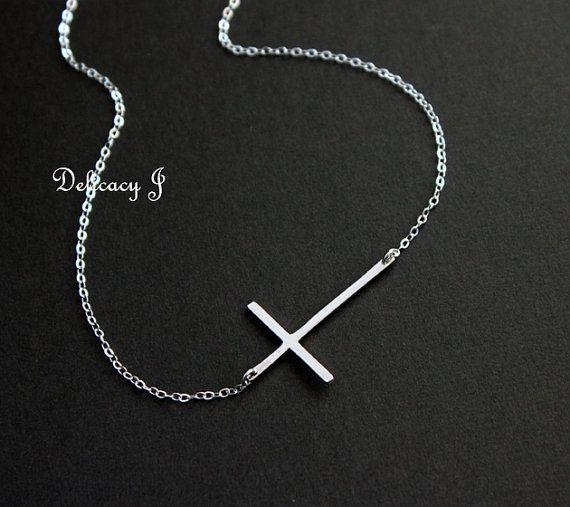 Kelly+Ripa+sideways+cross+necklace+in+STERLING+SILVER+by+DelicacyJ,+$34.00