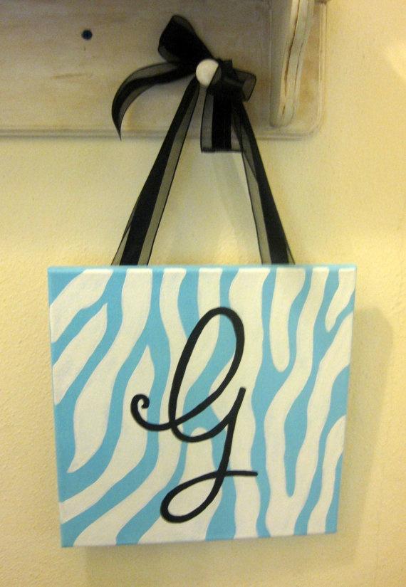 Zebra Print Letter G Painting by tealejane on Etsy, $35.00