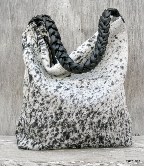Salt And Pepper Rustic Cowhide Bag With Braided Cross Body Strap By Stacy Leigh Ready To Ship