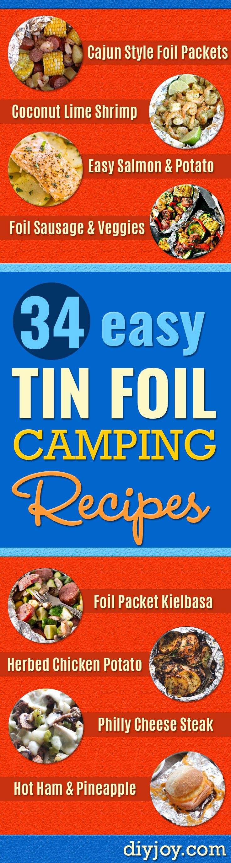 DIY Tin Foil Camping Recipes - Tin Foil Dinners, Ideas for Camping Trips and On Grill. Hamburger, Chicken, Healthy, Fish, Steak , Easy Make Ahead Recipe Ideas for the Campfire. Breakfast, Lunch, Dinner and Dessert, Snacks all Wrapped in Foil for Quick Cooking http://diyjoy.com/camping-recipes-tin-foil