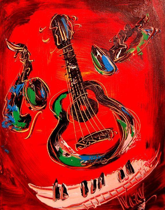 GUITAR  original oil painting by Mark Kazav on by kazavart on Etsy