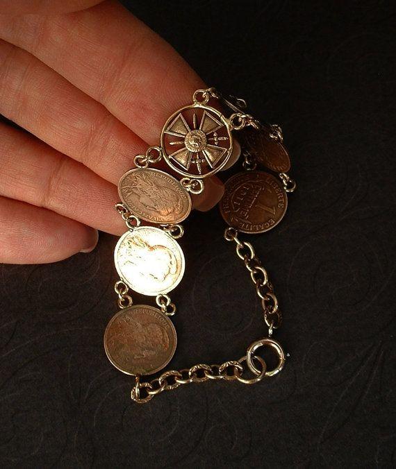 ANTIQUE French Coin BRACELET 1911 CENTIME Coins Republique Francaise Liberte Egalite Fraternite