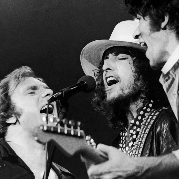 Van Morrison, Bob Dylan, and Robbie Robertson during the Last Waltz.