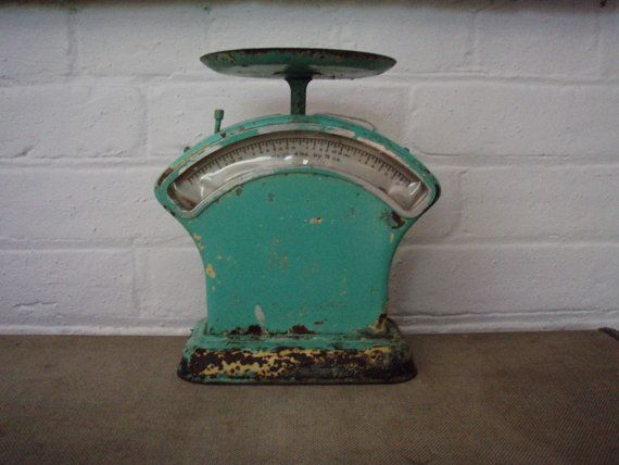Vintage Scales  Green Rustic Kitchen Scales by alittlebitdusty