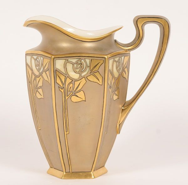 Lenox Belleek Transitional Style Porcelain Pitcher, Hexagonal Form, Each Panel with Mother-of-Pearl Floral and Gilt Decoration