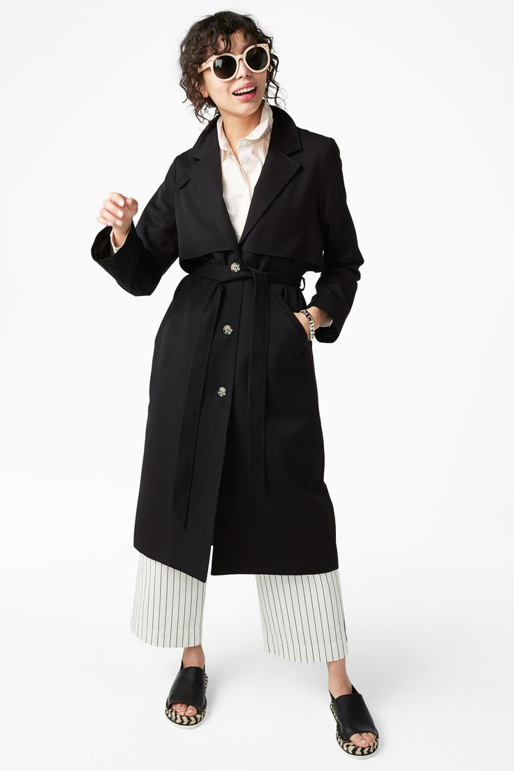 Monki Image 2 of Lightweight trench coat in Black