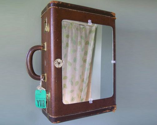 Front of the suitcase medicine cabinet with a mirror attached.