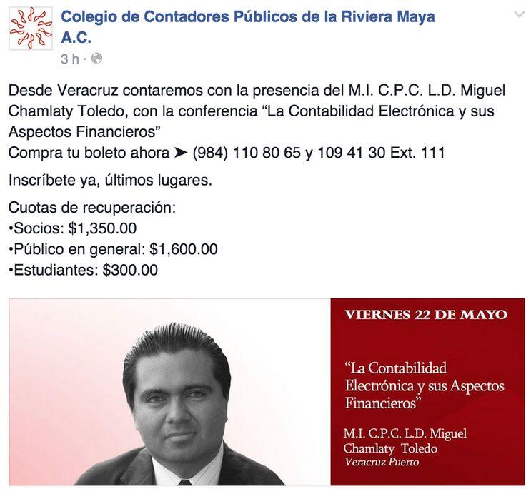 EVENTOS COLEGIO DE CONTADORES RIVIERA MAYA MAYO 22 2015