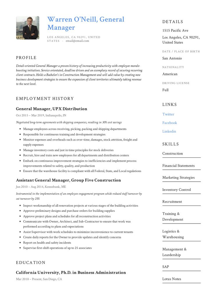 General manager resume example in 2020 resume examples