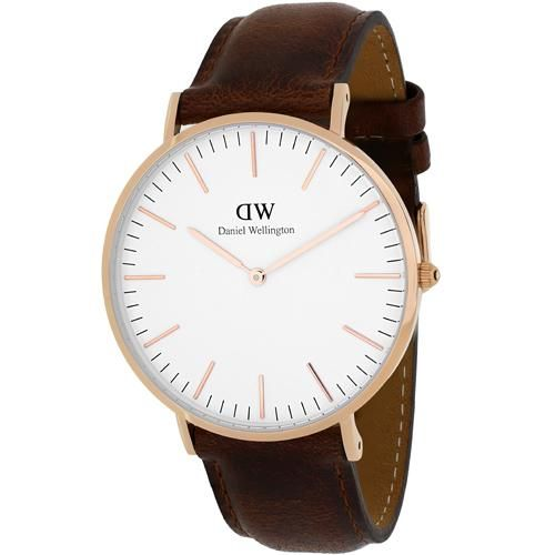 Daniel Wellington Mens Classic St Mawes Quartz Brown Band White Dial