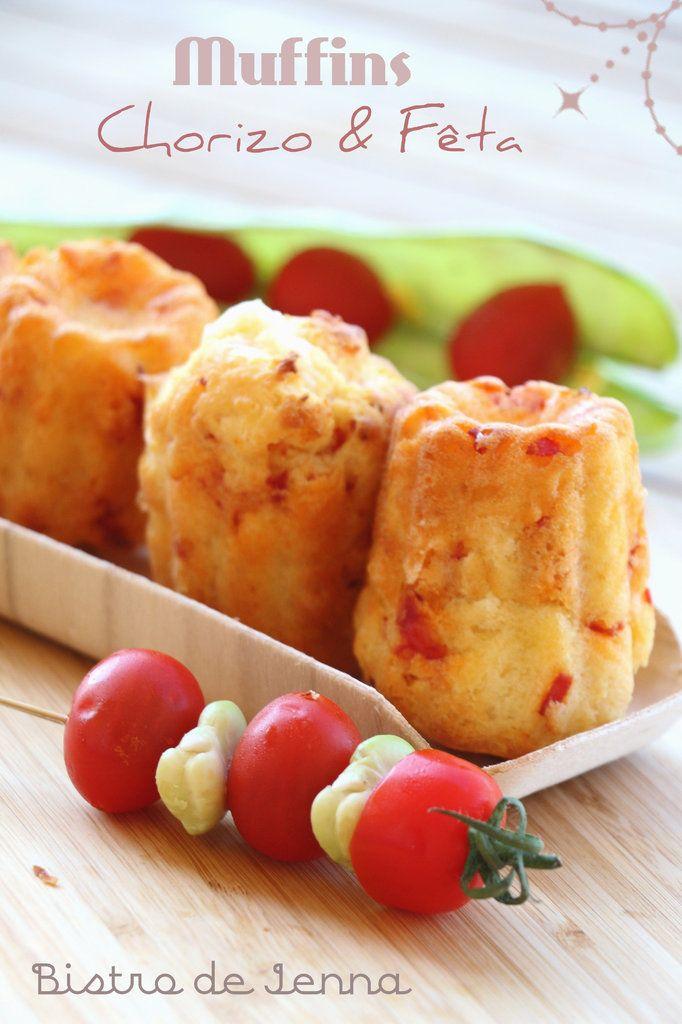 Muffins chorizo-fêta INGREDIENS: (pour 10 muffins) 140 g de farine 2 oeufs 50 g de beurre 1 sachet de levure chimique 5 c.à.soupe de lait froid 1/2 de chorizo ( fort ou mi fort ) 70 g de fêta Sel Préchauffer le four a 240°. Faites fondre le beurre dans...