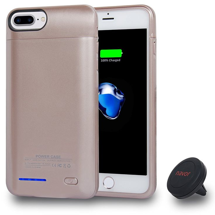 Navor iPhone 7 Kit - Car Mount and 42000mAh Wireless Charging Battery Case for iPhone 7 (6 & 6s Compatible) Slim Design