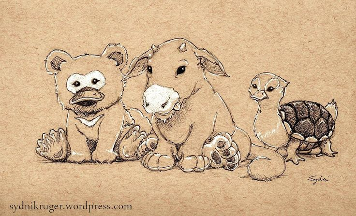 Baby creatures from the Avatar universe :) - platypus bear, saber-toothed moose lion, turtle duck.