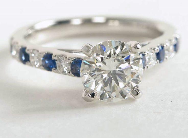 1.7 Carat Diamond Riviera Pavé Sapphire and Diamond Engagement Ring | Blue Nile Engagement Rings