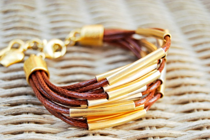 Handmade bracelet in brown with silver and gold tubing