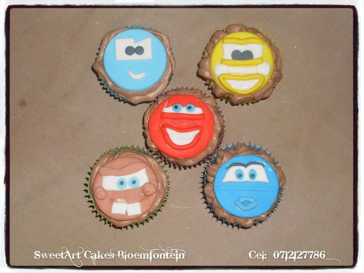 Fondant Cars Cupcakes  For more info or orders, Email SweetArtBfn@gmail.com or call 0712127786.  Connect with us on Facebook https://www.facebook.com/SweetArtCakesBfn