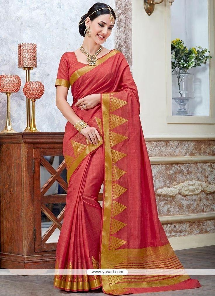 Fabulous Red Tussar Silk Traditional  Saree Model: YOSAR8402