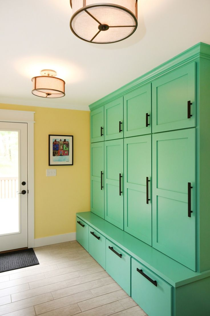 Furniture. Large Green Wooden Locker With Bench Connected With Four Drawers Under It And Two Layer Storage Above As Well As  Also. Gorgeous Mudroom Lockers With Bench  Offer A Wonderful Design Idea