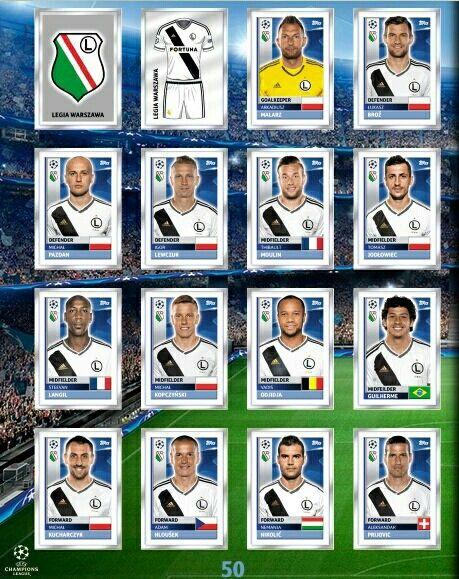 Legia Warsaw team stickers for 2016-17.